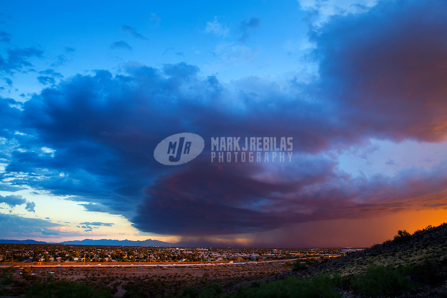 Dust Storm monsoon weather season wind rain Arizona urban neighborhood city shelf cloud sunset pretty Glendale AZ