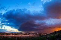 Dust Storm monsoon weather season wind rain Arizona urban neighborhood city shelf cloud sunset pretty Glendale AZ
