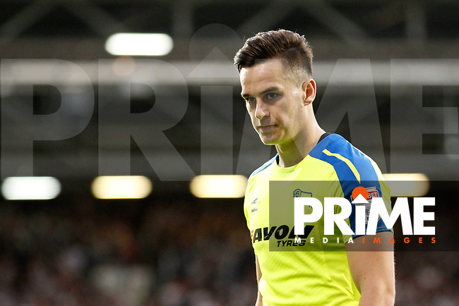 Tom Lawrence of Derby County seen during the Sky Bet Championship play off semi final 2nd leg match between Fulham and Derby County at Craven Cottage, London, England on 15 May 2018. Photo by Carlton Myrie / PRiME Media Images.