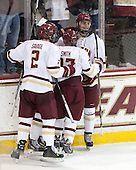 Scott Savage (BC - 2), Quinn Smith (BC - 27), Chris Calnan (BC - 11) - The Boston College Eagles defeated the visiting Merrimack College Warriors 2-1 on Wednesday, January 21, 2015, at Kelley Rink in Conte Forum in Chestnut Hill, Massachusetts.