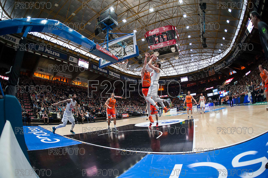 VALENCIA, SPAIN - FEBRUARY 28:  during ENDESA LEAGUE match between Valencia Basket Club and Real Madrid at Fonteta Stadium on   February, 2016 in Valencia, Spain