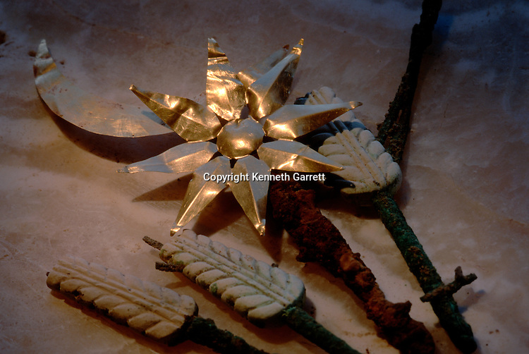 Gold sun and moon with wheat sticks, artifacts, Oxus Civilization; Turkmenistan; Gonor Depe site; Victor Sarianidi; Archaeology; BMAC complex