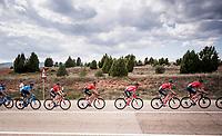 Team Sunweb leading the peloton for red jersey (overall leader)  Nicolas Roche (IRE/Sunweb)<br /> <br /> Stage 5: L'Eliana to Observatorio Astrofísico de Javalambre (171km)<br /> La Vuelta 2019<br /> <br /> ©kramon