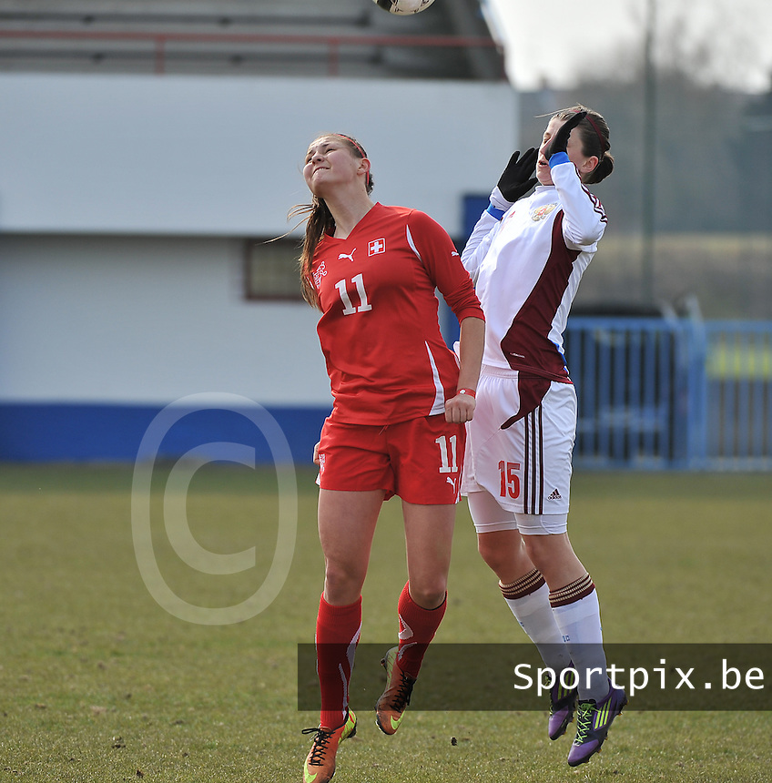 Switzerland U19 - Russia U19 : Barla Deplazes and Elina Samoilova (right).foto DAVID CATRY / Nikonpro.be