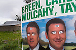 "Fine Gael election posters between Lahinch and Ennistymon altered with stickers saying: ""Obey Me"""