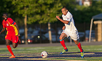 Malden, Massachusetts - June 26, 2016:  In a National Premier Soccer League (NPSL) match, Boston City FC (white) defeated Rhode Island Reds FC (red/yellow), 3-2, at Brother Gilbert Stadium on Donovan Field.