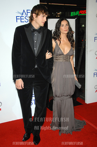 "DEMI MOORE & ASHTON KUTCHER at the AFI Film Festival's opening night gala & US premiere of their new movie ""Bobby"" at the Grauman's Chinese Theatre, Hollywood..November 1, 2006  Los Angeles, CA.Picture: Paul Smith / Featureflash"