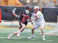 College Park, MD - April 15, 2018: Rutgers Scarlet Knights Tommy Coyne (6) tries to run pass a Maryland Terrapins defender during game between Rutgers and Maryland at  Capital One Field at Maryland Stadium in College Park, MD.  (Photo by Elliott Brown/Media Images International)