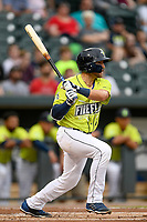 Second baseman Blake Tiberi (3) of the Columbia Fireflies bats in a game against the Greenville Drive on Friday, May 25, 2018, at Spirit Communications Park in Columbia, South Carolina. Columbia won, 3-1. (Tom Priddy/Four Seam Images)