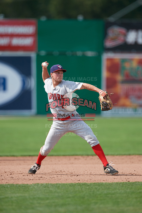 Auburn Doubledays third baseman Cole Daily (7) throws to first base during a game against the Batavia Muckdogs on September 1, 2018 at Dwyer Stadium in Batavia, New York.  Auburn defeated Batavia 10-5.  (Mike Janes/Four Seam Images)