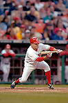 13 May 2005: Jamey Carroll, utility infielder for the Washington Nationals, sqaures to bunt against the Chicago Cubs, as the visiting Cubs defeated the Nationals 6-3 to take the first game of the 3-game series at RFK Stadium in Washington, DC.  Mandatory Photo Credit: Ed Wolfstein