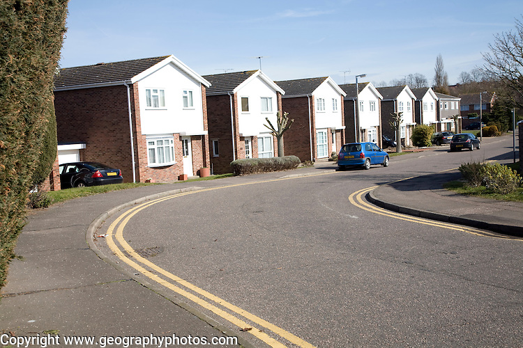 Modern housing with double yellow lines, Wells Road, Colchester, Essex