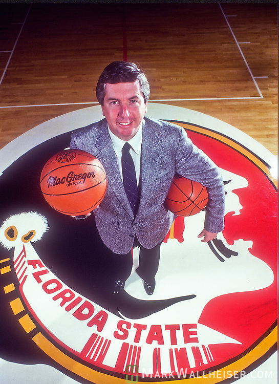Photograph of FSU Seminoles head basketball coach Pat Kennedy on November 14, 1986.  Kennedy coached the Seminoles to a 199-132 record between 1986 and 1997 and made it to the NCAA 5 times  in his 11 year tenure.