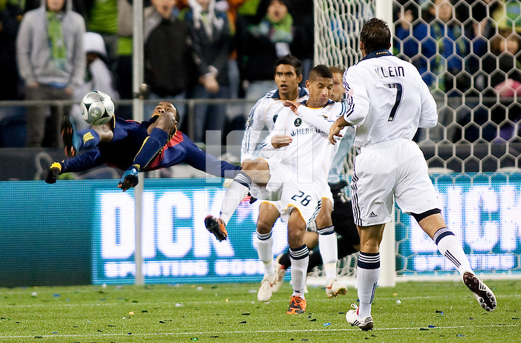 SEATTLE, WA--Real Salt Lake forward Robbie Findley attempts a bicycle kick during the MLS Cup championships at Qwest field in Seattle. SUNDAY, NOVEMBER 22, 2009. PHOTO BY DON FERIA.