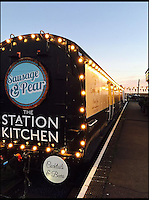 BNPS.co.uk (01202 558833)<br /> Pic: StationKitchen/BNPS<br /> <br /> The exterior of the WW1 train carriage which has now been turned in to a restaurant.<br /> <br /> A First World War ambulance train carriage that carried wounded soldiers to safety from the front line has been given a new lease of life as a quirky fine dining restaurant.<br /> <br /> Ross Moore and his wife Claire have added the dining carriage to their restaurant Station Kitchen, which they run from an old railway station in West Bay, Dorset, and it is proving a big hit with foodies travelling from all over the country - and the world - to eat there.<br /> <br /> The business started with Claire selling cakes and scones at Bridport Market six years ago, but grew into an award-winning catering company, Sausage and Pear.<br /> <br /> The couple set up their quirky restaurant in November 2015 and added the new dining carriage in October last year, which is already proving so popular with their patrons they have turned the old dining room into a lounge and cocktail bar.