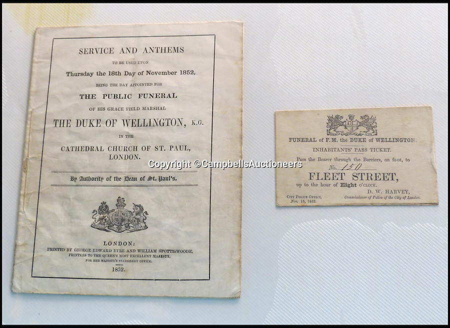 BNPS.co.uk (01202 558833)<br /> Pic: CampbellsAuctioneers/BNPS<br /> <br /> Rare Inhabitants' Pass Ticket, Funeral of The Duke of Wellington, 18th November 1852.<br /> <br /> A magnificent collection of more than 1,000 signatures and letters from iconic historical figures including the Duke of Wellington, Picasso and Sir Winston Churchill have emerged for auction.<br /> <br /> The collection, which spans 300 years, was amassed by the late animal rights campaigner Jon Evans who meticulously framed or put the signatures in albums.<br /> <br /> Other famous figures in his collection include Charles Dickens, Sir Edmund Hilary, Mahatma Gandhi, Neil Armstrong, Lord Kitchener, Rudyard Kipling and Margaret Thatcher.<br /> <br /> The extensive array of documents is now expected to fetch &pound;30,000 at Campbells Auctioneers tomorrow (Tues).