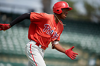 Philadelphia Phillies Carlos De La Cruz (53) runs to first base during a Florida Instructional League game against the Baltimore Orioles on October 4, 2018 at Ed Smith Stadium in Sarasota, Florida.  (Mike Janes/Four Seam Images)