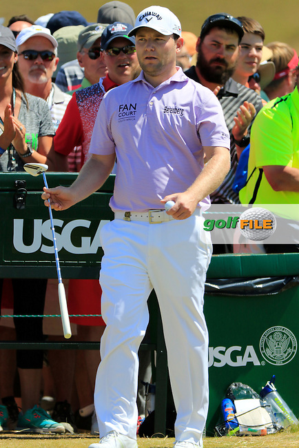Branden GRACE (RSA) on the 1st tee to start his match during Sunday's Final Round of the 2015 U.S. Open 115th National Championship held at Chambers Bay, Seattle, Washington, USA. 6/21/2015.<br /> Picture: Golffile | Eoin Clarke<br /> <br /> <br /> <br /> <br /> All photo usage must carry mandatory copyright credit (&copy; Golffile | Eoin Clarke)