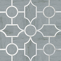 Chatham 3, a waterjet stone mosaic, shown in honed Bardiglio and polished Thassos, is part of the Silk Road collection by New Ravenna.