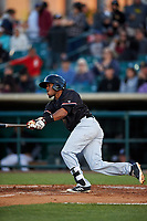 Visalia Rawhide second baseman Luis Alejandro Basabe (35) follows through on his swing during a California League game against the Lancaster JetHawks at The Hangar on May 17, 2018 in Lancaster, California. Lancaster defeated Visalia 11-9. (Zachary Lucy/Four Seam Images)