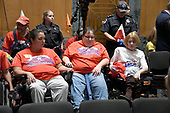 "Protestors in wheelchairs await the start of the United States Senate Committee on Finance ""Hearing to Consider the Graham-Cassidy-Heller-Johnson Proposal"" on the repeal and replace of the Affordable Care Act (ACA) also known as ""ObamaCare"" in Washington, DC on Monday, September 25, 2017.<br /> Credit: Ron Sachs / CNP"