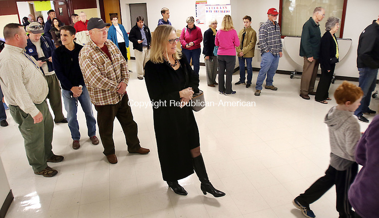 CHESHIRE CT. 08 November 2016-110816SV05-Voter turnout was high with long lines at Cheshire High School in Cheshire early Tuesday.<br /> Steven Valenti Republican-American