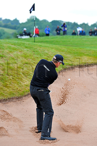 05.06.2011 Day four of the SAAB Wales Open Golf from Celtic Manor. Jamie DONALDSON (WAL) chips from a bunker on the 1st during the fourth and final round on the Twenty Ten course.
