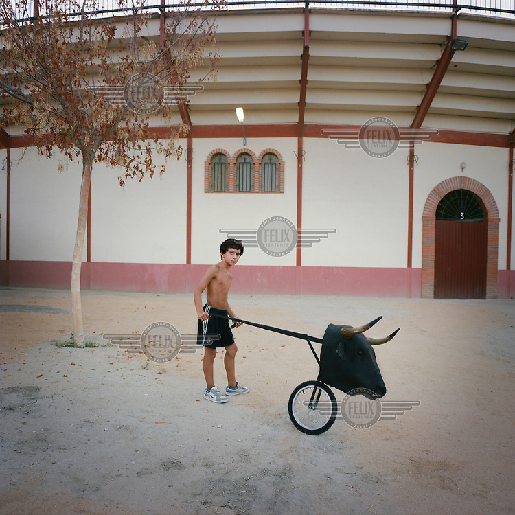A young boy pushing with dummy bull outside of the town's bullring. These are usually used by bull fighters for training.