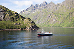 Jagged mountain peaks Raftsundet strait,  Lofoten Islands, northern Norway tour boat in Trollfjorden fiord