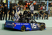 #16: Brett Moffitt, Hattori Racing Enterprises, Toyota Tundra AISIN Group celebrates his win