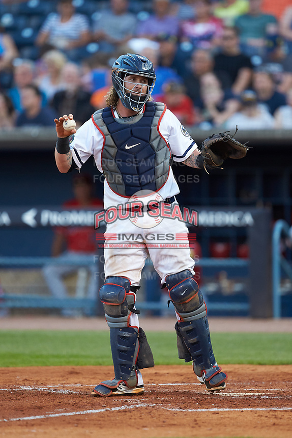 Toledo Mud Hens catcher Jarrod Saltalamacchia (39) on defense against the Louisville Bats at Fifth Third Field on June 16, 2018 in Toledo, Ohio. The Mud Hens defeated the Bats 7-4.  (Brian Westerholt/Four Seam Images)
