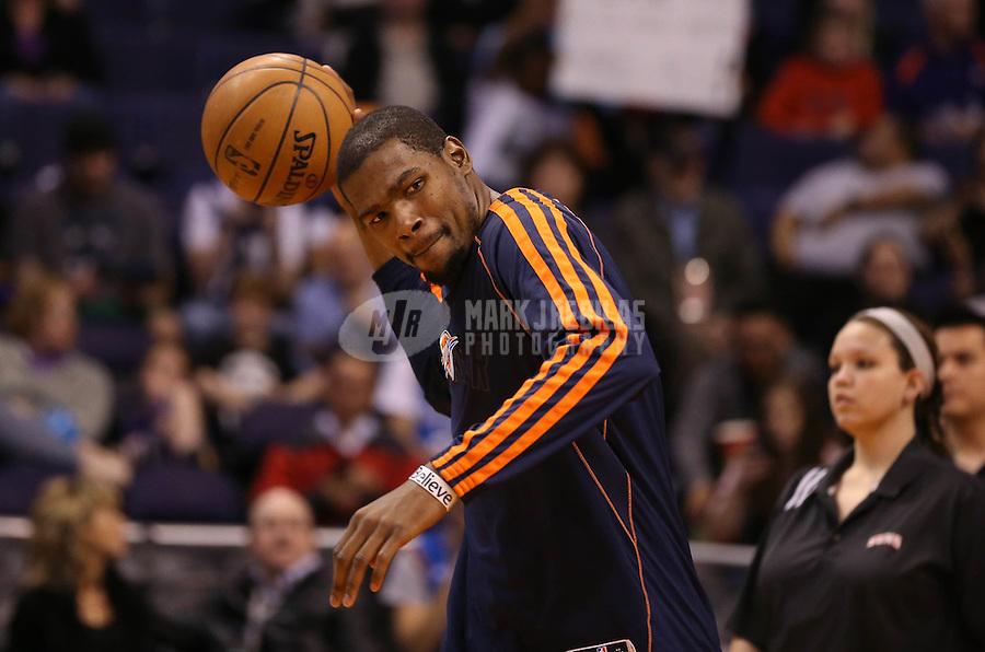 Feb. 10, 2013; Phoenix, AZ, USA: Oklahoma City Thunder small forward Kevin Durant against the Phoenix Suns at the US Airways Center. Mandatory Credit: Mark J. Rebilas-