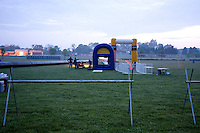 The triathlon finish line being set up on the morning of the New Jersey Devilman Triathlon on May 5, 2012 in Cumberland County, New Jersey.