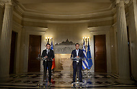 Pictured: (L-R) French President Emmanuel Macron and Greek Prime Minister Alexis Tsipras out of Maximos Mansion in Athens, Greece. Thurday 07 September 2017<br />