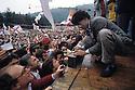 Senator of Italian Parliament Umberto Bossi, Secretary of Lega Lombarda (Lombard League Party) speaks at a political rally organized by Lega Nord (North League Party) to celebrate historical Pontida Oath at Pontida, Bergamo, May 20, 1990. © Carlo Cerchioli ..Senatore Umberto Bossi, segretario della Lega Lombarda, tiene comizio in occasione della festa popolare del giuramento di Pontida a Pontida (Bergamo), 20 maggio, 1990.
