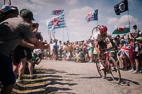 Jasper Stuyven (BEL/Trek-Segafredo) on pav&eacute; sector #4<br /> <br /> Stage 9: Arras Citadelle &gt; Roubaix (154km)<br /> <br /> 105th Tour de France 2018<br /> &copy;kramon