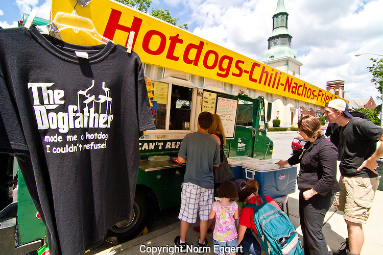 The Dog Father food truck in Worcester, Massachusetts serving people outside