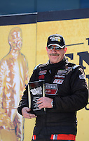 Sept. 14, 2012; Concord, NC, USA: NHRA pro stock driver Mike Edwards during qualifying for the O'Reilly Auto Parts Nationals at zMax Dragway. Mandatory Credit: Mark J. Rebilas-