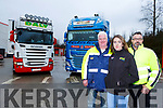 Truckers l-r: Michael Daly, Orla McAulliffe and Michael Connolly Castleisland who are worried the affect Brexit will have on the haulage trade to Britain and Europe
