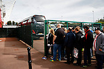 Stoke City 1 West Bromwich Albion 1, 24/09/2016. Bet365 Stadium, Premier League. Fans watching through a fence as the West Brom players disembark from the team bus. Photo by Paul Thompson.