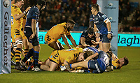 8th November 2019; AJ Bell Stadium, Salford, Lancashire, England; English Premiership Rugby, Sale Sharks versus Coventry Wasps; Wasps score under the posts in the 7th minute through Sione Vailanu to make the score 7-3 in their favour - Editorial Use