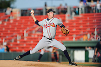 Starting pitcher Chad Sobotka (32) of the Rome Braves delivers a pitch in a game against the Greenville Drive on Monday, June 15, 2015, at Fluor Field at the West End in Greenville, South Carolina. Sobotka was a fourth-round pick of the Atlanta Braves in the 2014 First-Year Player Draft out of the University of South Carolina Upstate in Spartanburg, South Carolina. (Tom Priddy/Four Seam Images)