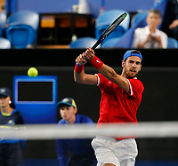 3rd January 2020; RAC Arena, Perth, Western Australia; ATP Cup Australia, Perth, Day 1, Russia versus Italy; Karen Khachanov of Russia plays a backhand shot against Italy in the doubles - Editorial Use