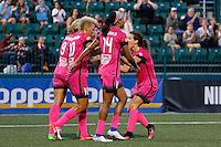 Rochester, NY - Saturday Aug. 27, 2016: Lynn Williams, Lianne Sanderson celebrates scoring, Jessica McDonald during a regular season National Women's Soccer League (NWSL) match between the Western New York Flash and the Houston Dash at Rochester Rhinos Stadium.