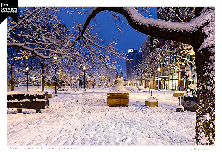 "The third print in a four part series entitled: ""Winter on the Square"".  Please see the ""Fine Art 