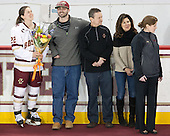 Haley Skarupa (BC - 22), Dylan Skarupa, Tony Skarupa, Penny Skarupa, Allison Quandt (BC - Assistant Coach) - The Boston College Eagles defeated the visiting Providence College Friars 7-1 on Friday, February 19, 2016, at Kelley Rink in Conte Forum in Boston, Massachusetts.