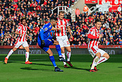 4th November 2017, bet365 Stadium, Stoke-on-Trent, England; EPL Premier League football, Stoke City versus Leicester City; Riyad Mahrez of Leicester City takes a shot on goal watched by Darren Fletcher and Kevin Wimmer of Stoke City but it goes wide on this occasion