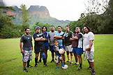 FRENCH POLYNESIA, Moorea. A local rugby team called Team Rotui practicing at Uop honu Park in Moorea Island.