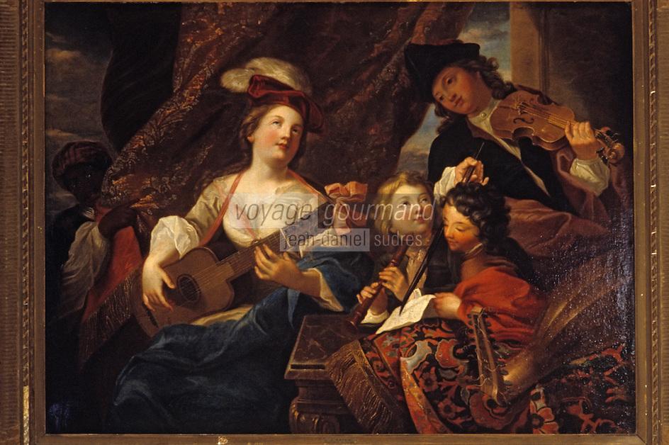"""Europe/France/Auverne/63/Puy-de-Dôme/Riom: Le musée Mandet - """"La leçon de musique"""" (XVIIIème siècle/ Par Raoux)"""
