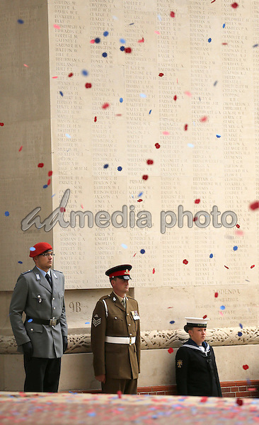 01 July 2016 - Thiepval, France - The Battle of the Somme Service during a service to mark the 100th anniversary of the start of the battle of the Somme at the Commonwealth War Graves Commission Memorial in Thiepval, France, where 70,000 British and Commonwealth soldiers with no known grave are commemorated. Photo Credit: ALPR/AdMedia